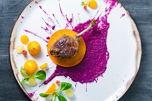 Duck leg confit with cabbage puree