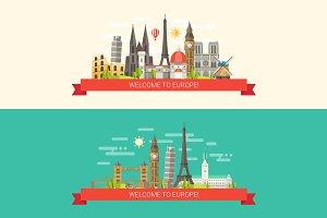 Famous European Landmarks Banners