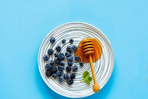 Wild blueberry on plate