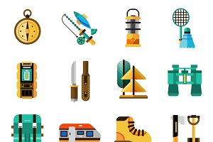 Camping and rest icons set