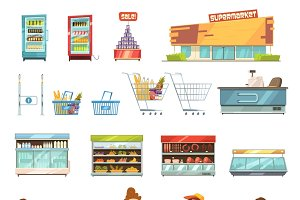 Supermarket retro cartoon icons set