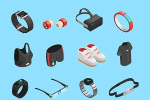 Wearable technology isometric icons