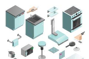 Kitchen interior isometric icons set