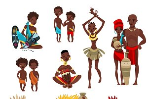 African tribal clothing icons set