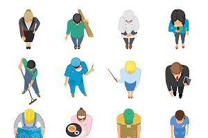 Professions top view icons set