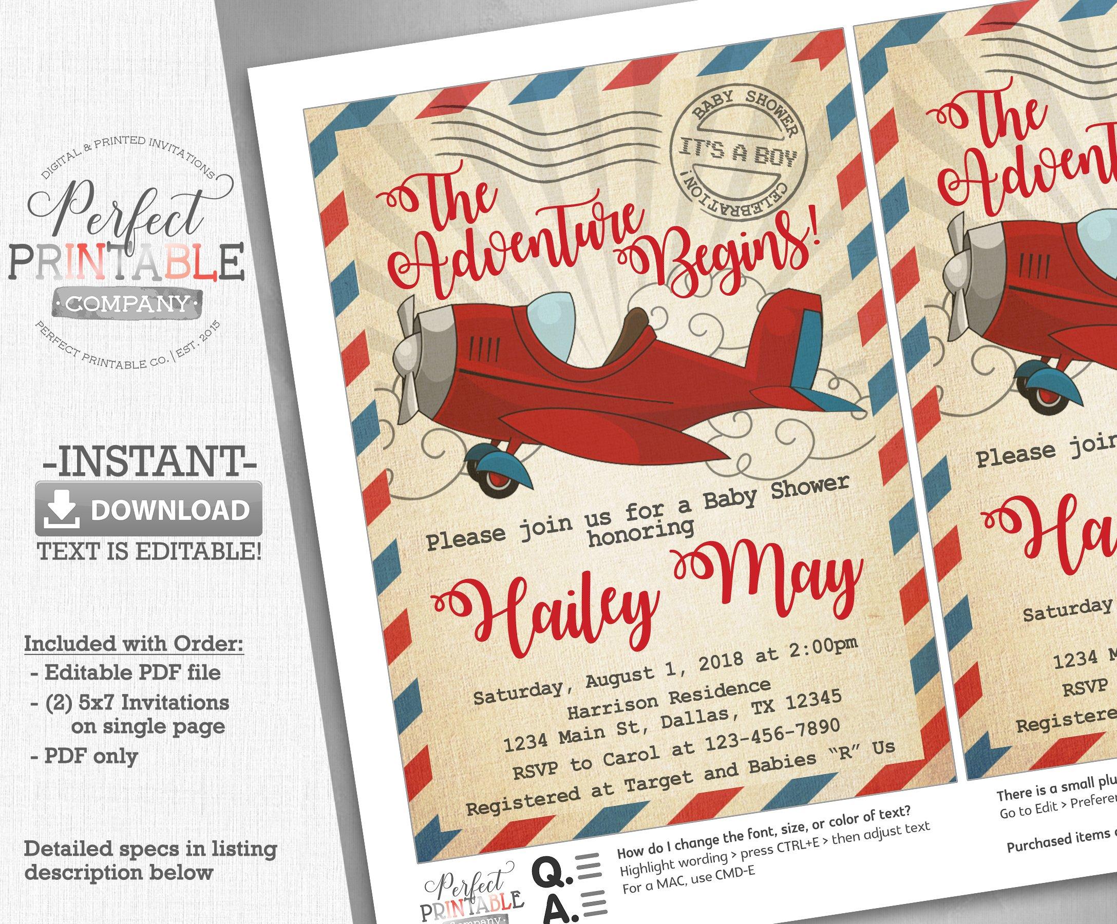 Airplane Baby Shower Invitation ~ Invitation Templates ~ Creative Market