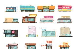 Shop building cartoon set