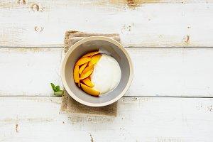 Yogurt and peach