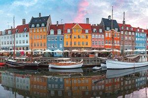 Nyhavn at sunrise in Copenhagen