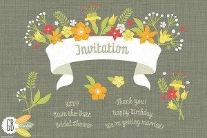Folk flowers invitation white ribbon
