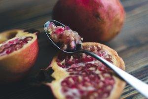 Fresh cut pomegranate