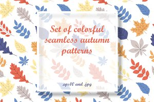 Autumn seamless patterns with leaves