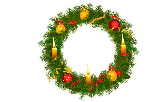 Christmas Tree Wreath. Vector