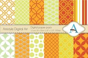 Orange and Lime-Digital Paper Pack