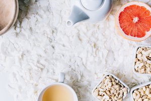 Healthy paleo snack nuts and tea
