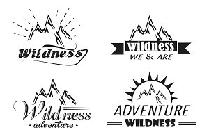 vector set of wilderness and nature
