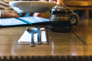 Tratidional Korean tea pot on table