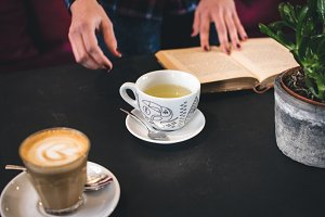 Tea and coffee break with a book