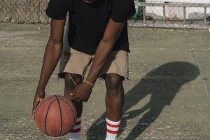 Afro Man Basketball Player In A Stre
