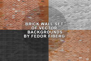 Brick wall set of vector backgrounds