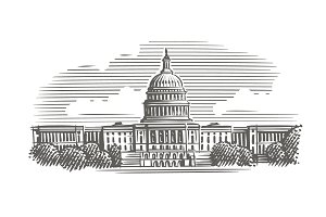 Capitol building engraving. Vector.