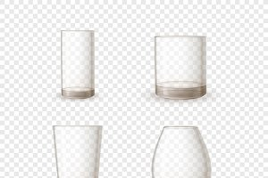 Empty realistic glossy glasses
