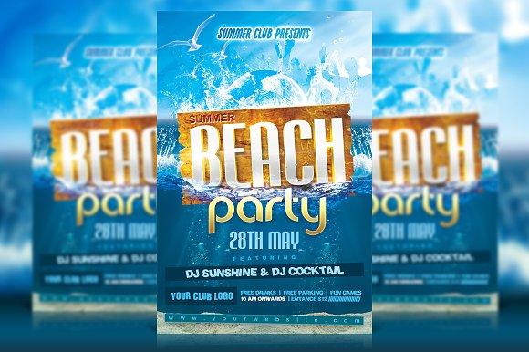 summer beach party flyer flyer templates creative market