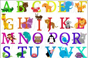 Animal Alphabet Vectors & Clipart 2