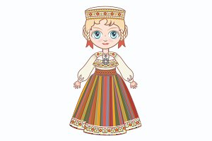 The girl in Estonian dress.