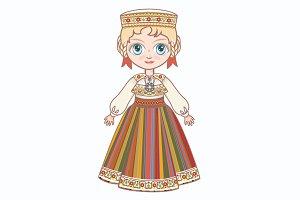 The girl in Estonian dress.