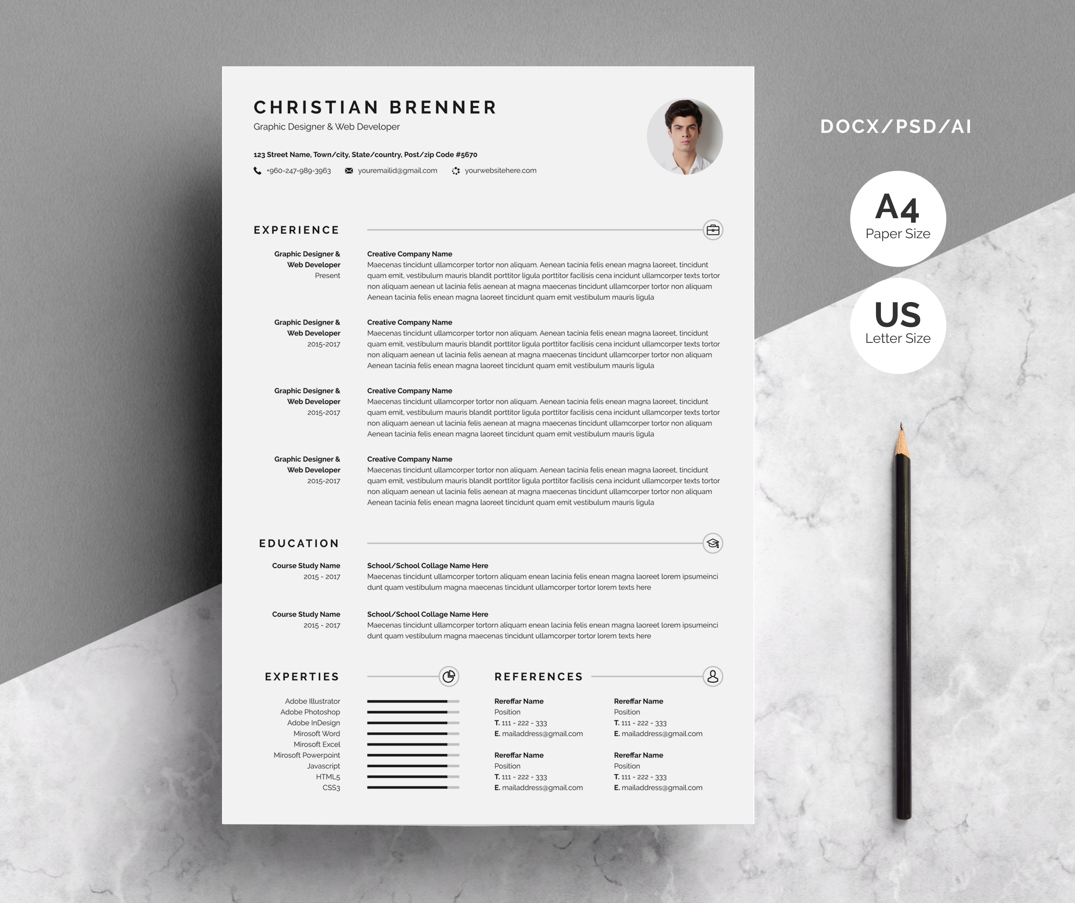 Clean Resume/CV With Cover Letter ~ Resume Templates ~ Creative Market