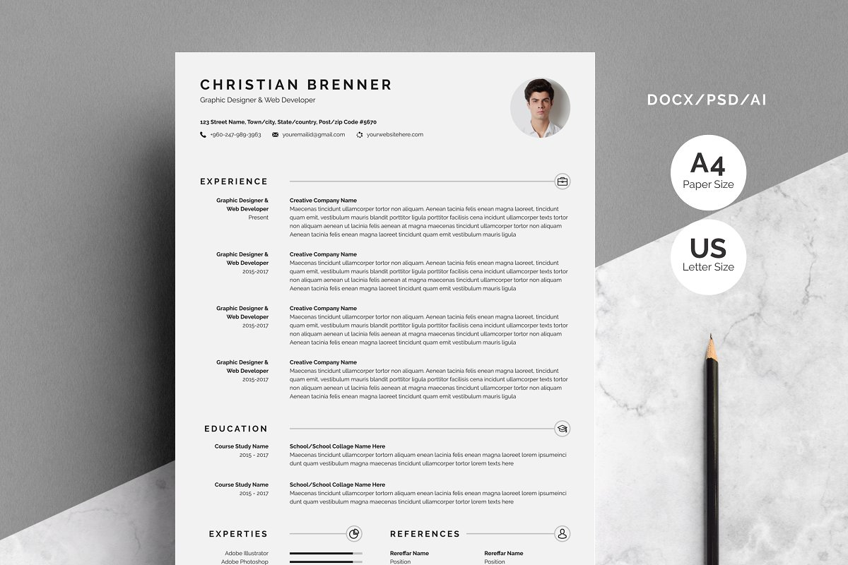 Clean Resume/CV With Cover Letter ~ Cover Letter Templates ...