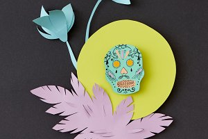 Greeting card with Calaveras skull