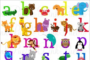 Animal Alphabet Vectors and Clipart