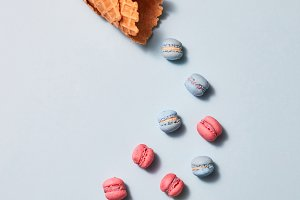 Multicolored macaroons and waffle