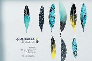watercolor vector feather clip art