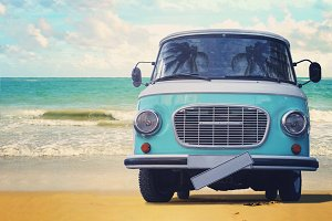 Vintage van parked on the beach