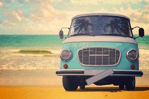 Vintage van parked on the beach