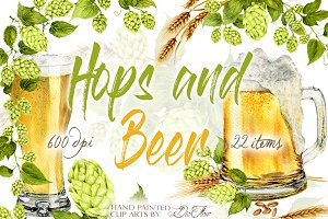 Hops And Beer Watercolor Clip Art