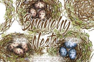Branchy Nest Watercolor Clip Art