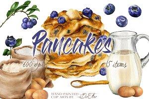 Pancake Watercolor Clip Art