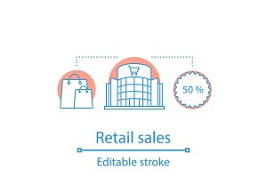 Retail sales linear icon