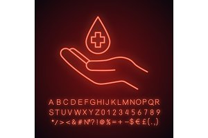 Blood donation neon light icon