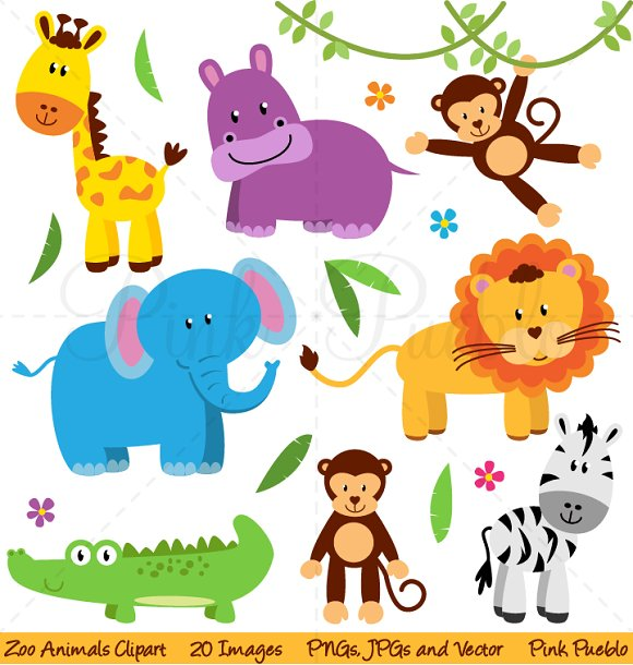 Zoo, Jungle, Safari Animals Clipart ~ Illustrations ...