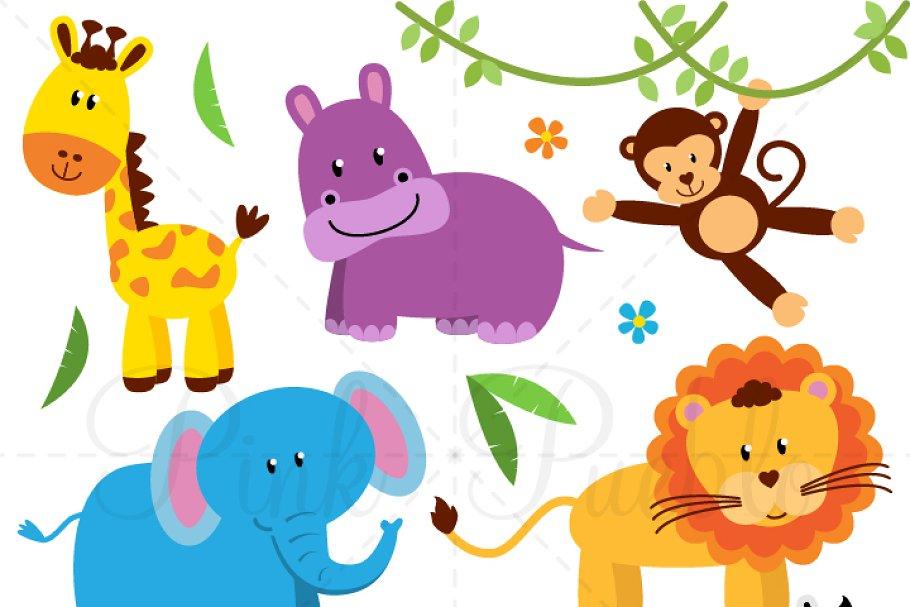 Zoo Jungle Safari Animals Clipart Illustrations Creative Market