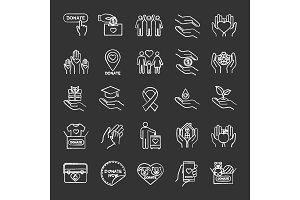 Charity chalk icons set