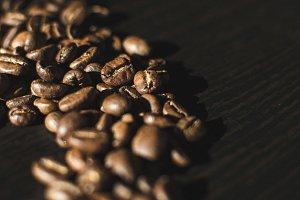 Coffee beans in random shape