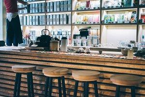Modern wooden interior of a tea shop