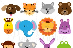 Animal Faces Clipart and Vectors