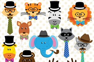 Wise Hipster Animals Clipart/Vector